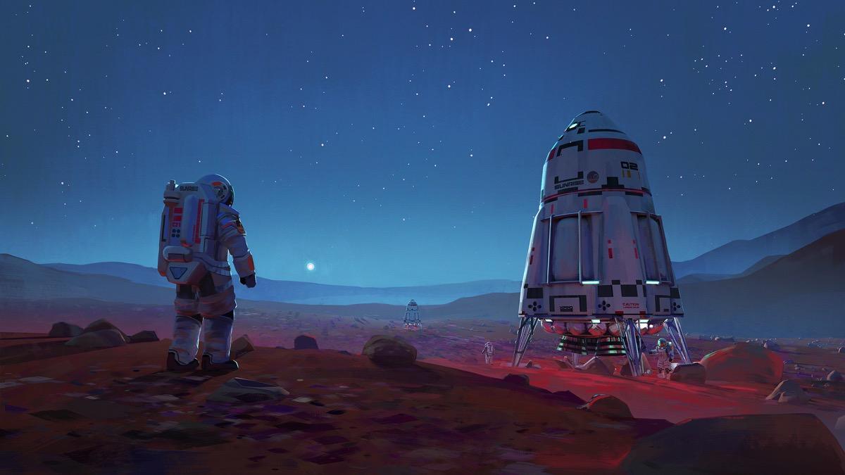 space-art-astronaut-spaceship-alien-martian-landscape