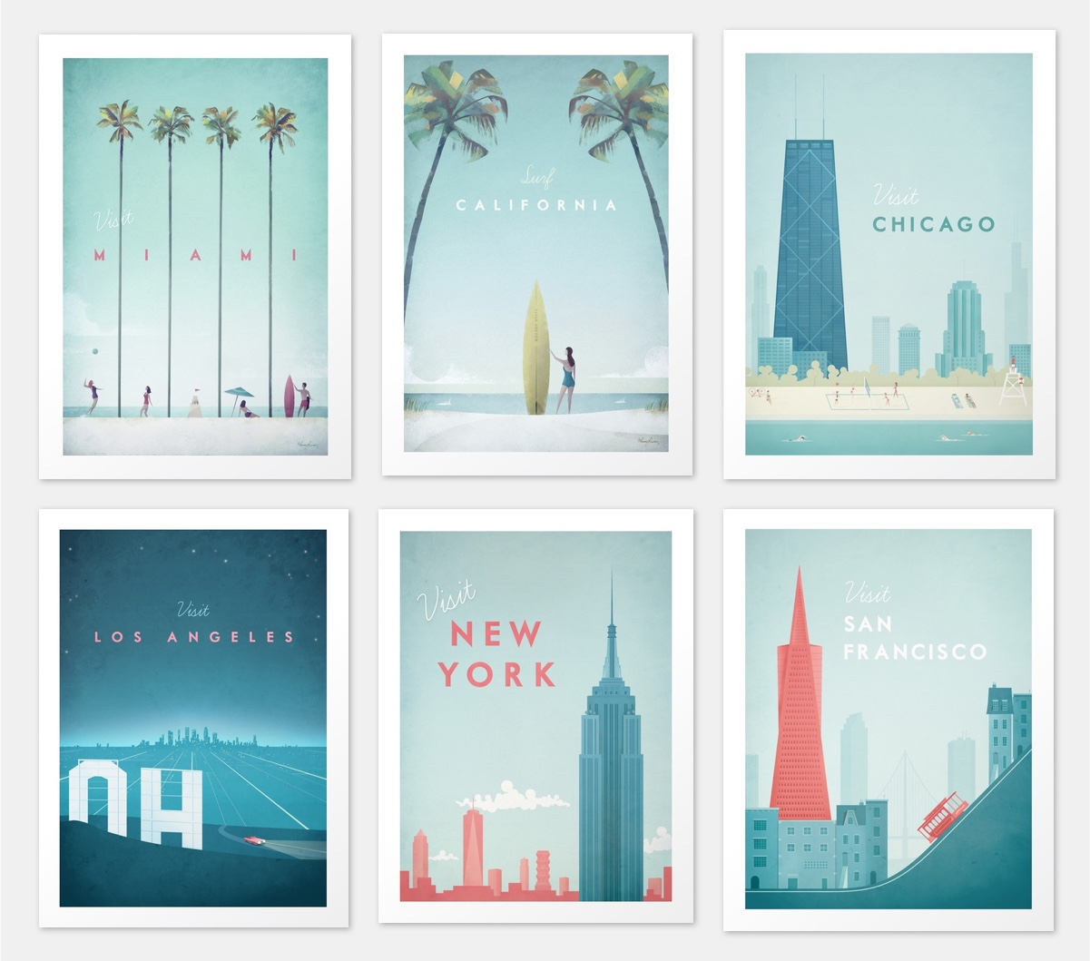 Modern Take On Vintage Style USA Travel Posters